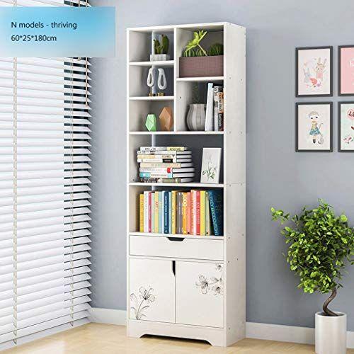 Dljfu Bookshelves Wooden Storage Bookcase Freestanding Display