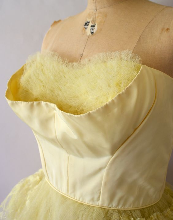 1950s Vintage Party Dress - Lemon Yellow w/Crumb Catcher Bust - from SweetBeeFinds