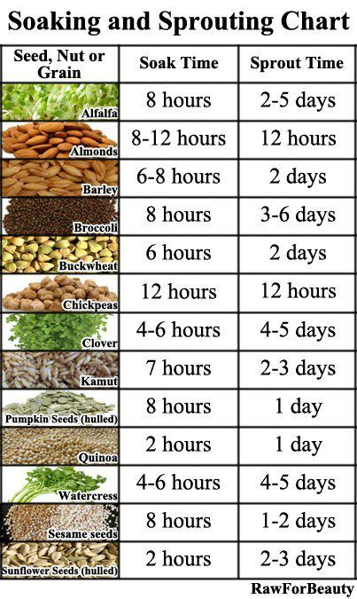 A chart to help you start sprouting your seeds, almonds, and everything else nutty to make them more digestible and absorb-able - Holistic Dad