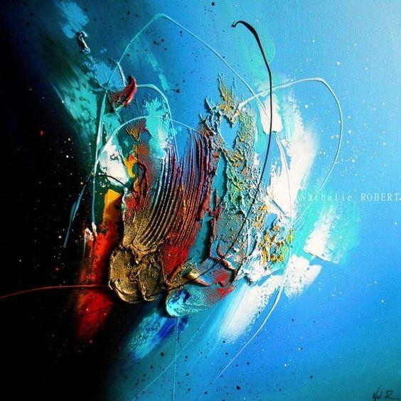 Iroise tableau abstrait moderne contemporain peinture acrylique en relief n - Grand tableau design ...