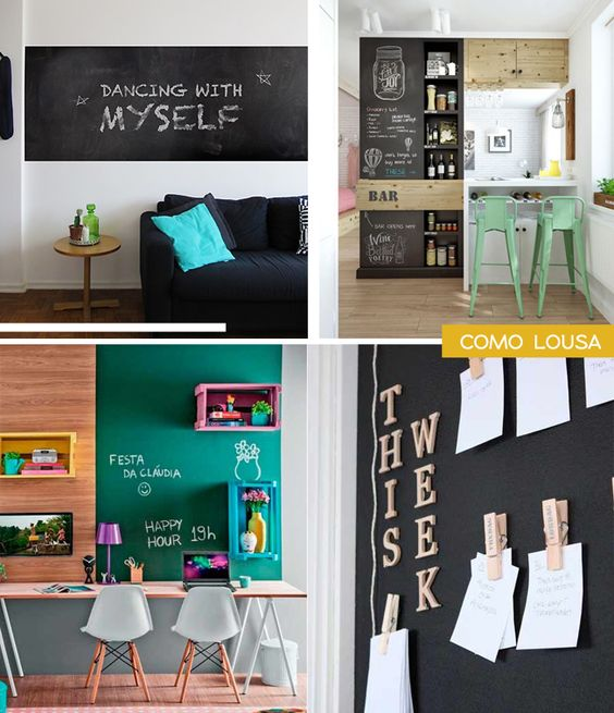 A Shopkola também lançou uma série de papéis de parede de lousa em cores variadas: tem a preta tradicional, laranja, verde e azul.