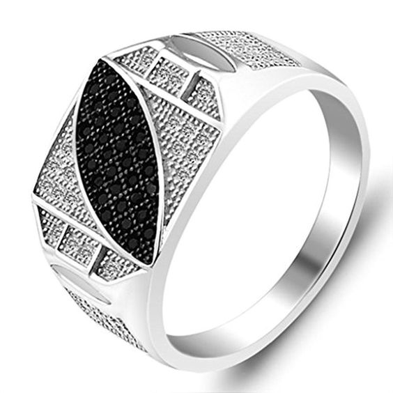 925 Sterling Silver Ring, Men's Wedding Bands Silver Men's Miro Simulated Diamond Inlaid Size 11 Epinki - Brought to you by Avarsha.com