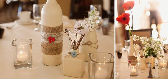 Paint vase {cokebottle} powder blue wrap burlap or twine {bow} and monogram powder blue P either on vase or ornaments that hang from branches for centerpiece