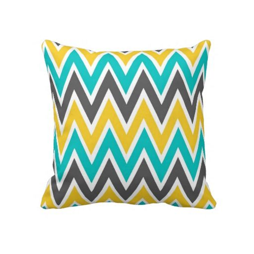 Turquoise Gray Yellow Gold Chevron Throw Pillow Part 51