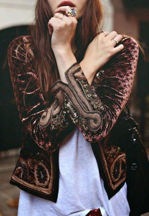 velvet embroidered jacket. boho street style.