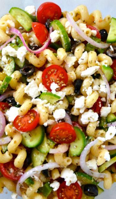 Greek Pasta Salad with Red Wine Vinaigrette