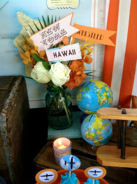 Decorations at a Travel Bridal Shower!  See more party ideas at CatchMyParty.com!
