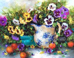 Pansies Art - Pansy Panoply  by Nancy Medina