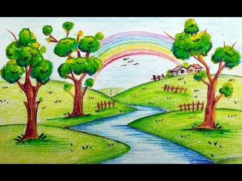 How To Draw Very Easy Beautiful Scenery With Rainbow For Kids Youtube Scenery Drawing For Kids Drawing Scenery Nature Drawing