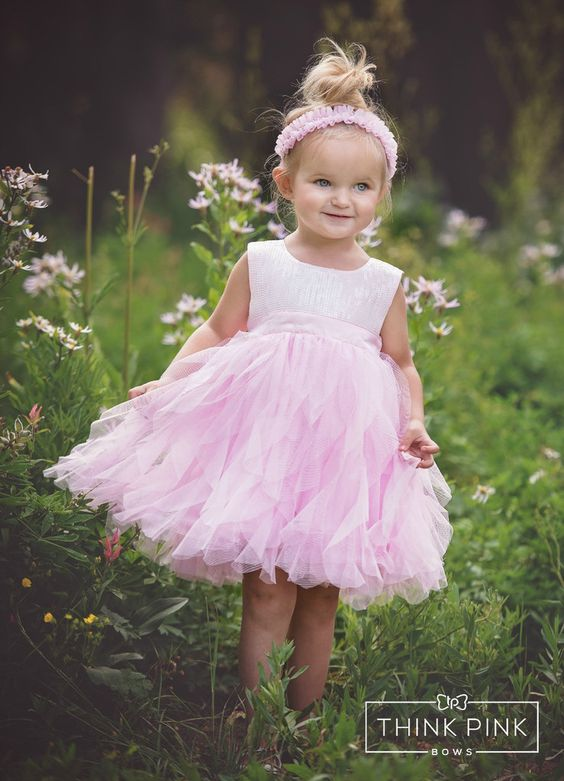 This pretty lace dress looks stunning in any little girl and every occasion! Perfect for flower girls, baptisms, weddings, photos, birthday parties, church, baptisms, Flower Girls and more! Explore Think Pink Bows cute dress collection for ages 1 to 6 yrs old at http://thinkpinkbows.com/products/pink-sequin-tulle-dress | Kids Fashion