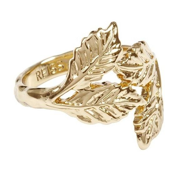 Reiss Gold Leaf Ring, £39   Look found on Polyvore