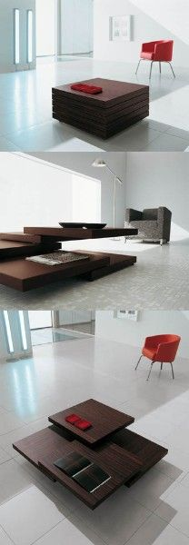 Coffee table has movable surfaces; convertible table; folding table collapsible