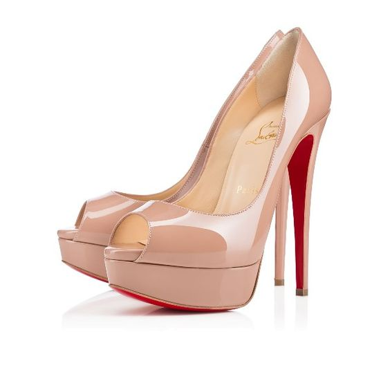 Christian Louboutin lady peep Nude 150mm Patent Leather Womens Sky-High Platforms