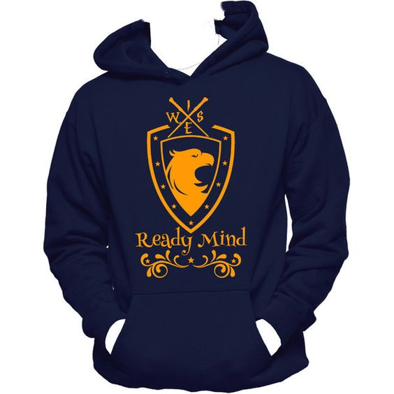 Wise, Ready Mind Ravenclaw Harry Potter Inspired Unisex Ravenclaw... (€27) ❤ liked on Polyvore featuring tops, hoodies, graphic shirts, graphic design shirts, print shirts, unisex shirts and print hoodie