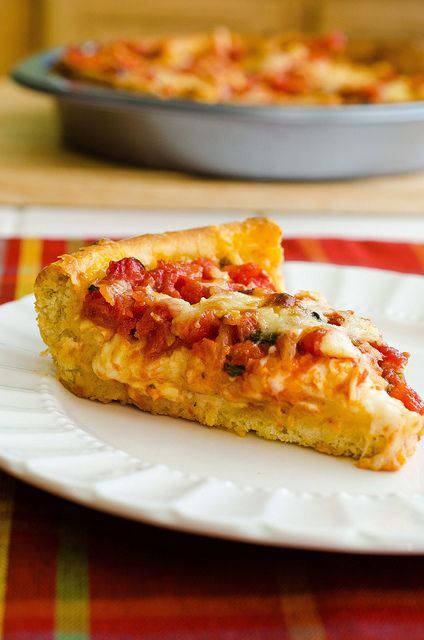 Chicago-Style Deep Dish Pizza by Pennies on a Platter