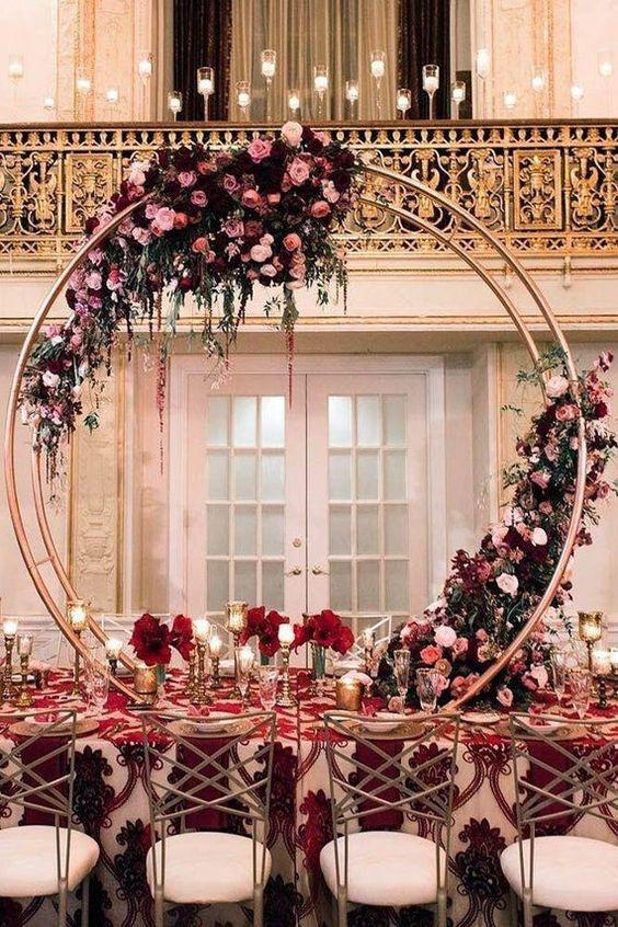 Inspirational burgundy and peach wedding centerpieces