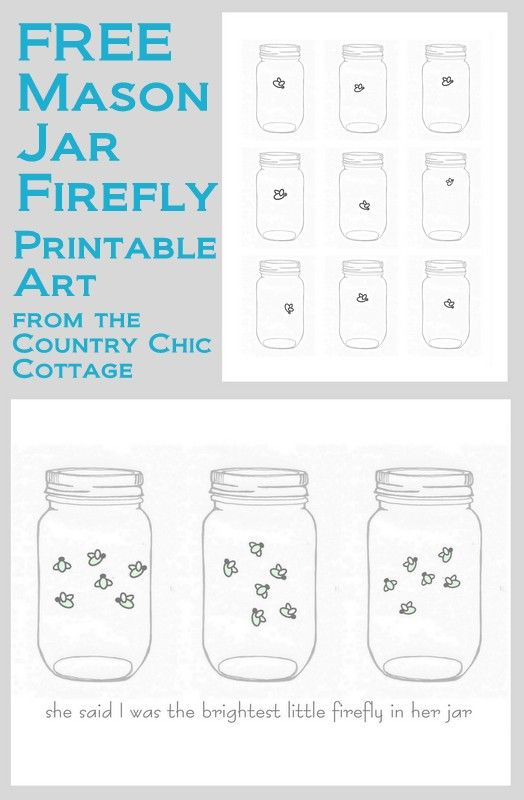 Mason Jar Firefly FREE Printable Art - * THE COUNTRY CHIC COTTAGE (DIY, Home Decor, Crafts, Farmhouse)