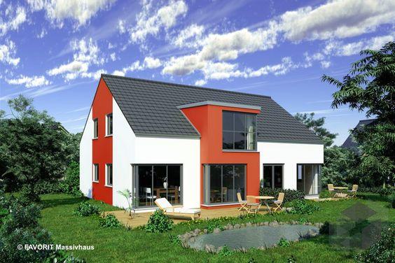 fehér színű családi ház, élénk vörös kiemeléssel