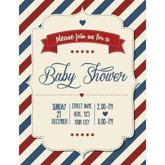 Bebê chuveiro convite em formato vetorial estilo retro