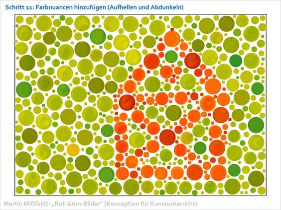Konzeption für Kunstunterricht an der Schule: Rot-Grün-Farbsehtest malen