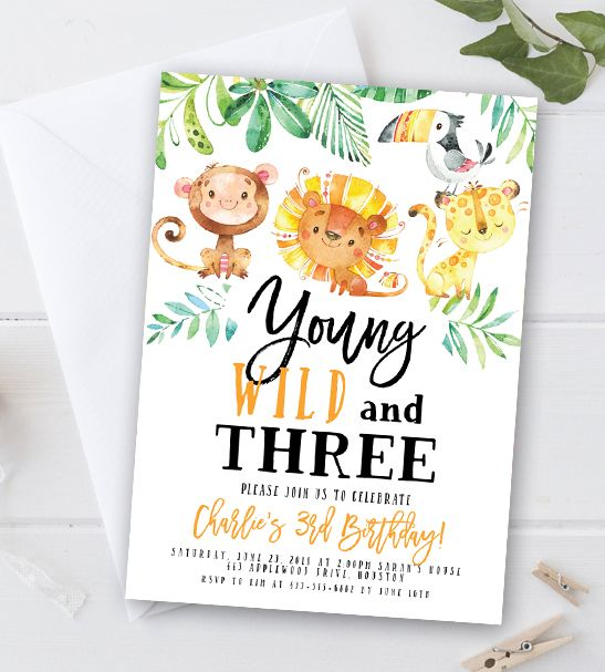 Free Editable Birthday Party Invitation Template Young Wild And Three Jungle Animals Instant Download Printable Instantly Personalize Party Invite Template Birthday Party Invitation Templates Wild One Birthday Party