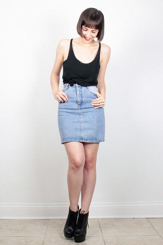 vintage denim skirt 1980s blue jean skirt denim mini skirt