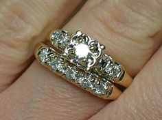 Vintage Wedding Rings Set 1940s Illusion Head by AuldBaubles $600.00