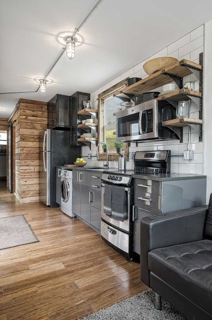 The interior of the freedom tiny house from minimalist for Minimalist house on wheels