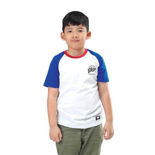 Kaos Anak Laki Laki Iyn 416 Cotton Combed Putih Kombinasi Di