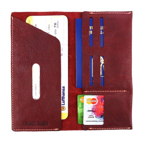 Leather Passport Cover and document holder by BlackBrierLeather