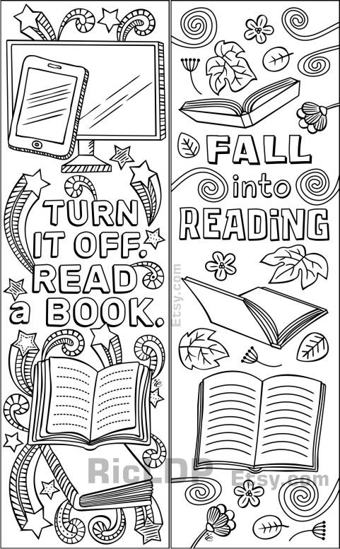 Set Of 8 Coloring Bookmarks About Reading Books Cute Markers
