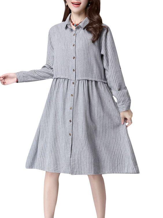 Casual Women Stripe Long Sleeve Single-breasted Loose Dress at Banggood