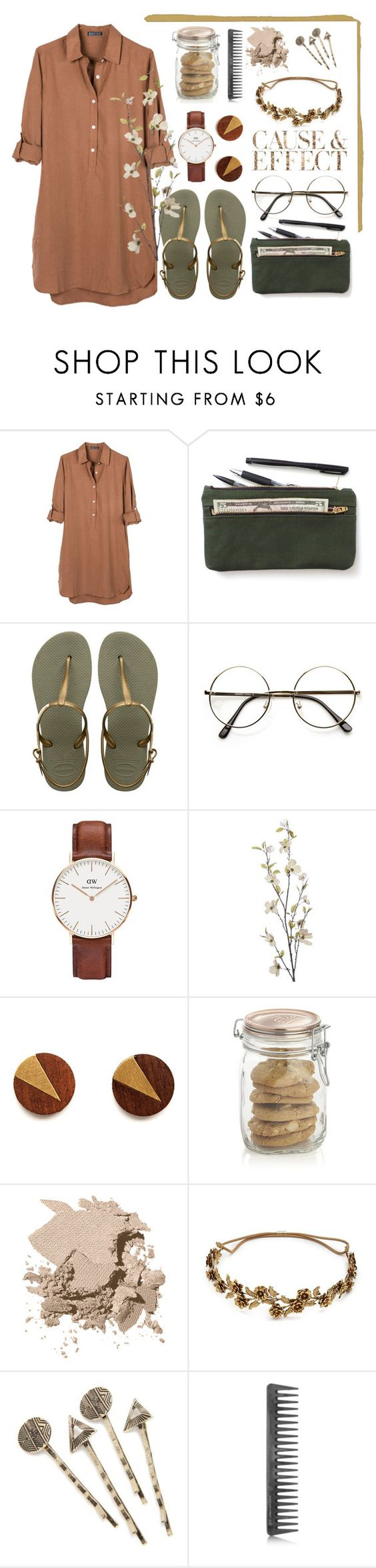 """Banbury Tencel dress"" by amn-d ❤ liked on Polyvore featuring United by Blue, Havaianas, ZeroUV, Daniel Wellington, Pier 1 Imports, Crate and Barrel, Bobbi Brown Cosmetics, Envi, Jennifer Behr and Red Camel"