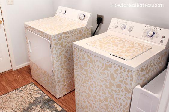 stenciled washer and dryer DIY @Annemarie Meintjes