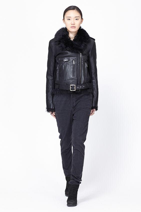 R13 Shearling Moto Jacket (Black)