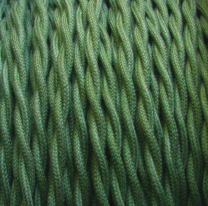 2-Conductor 18-Gauge Green Cotton Twisted Pair Wire -- cloth-covered electrical wire