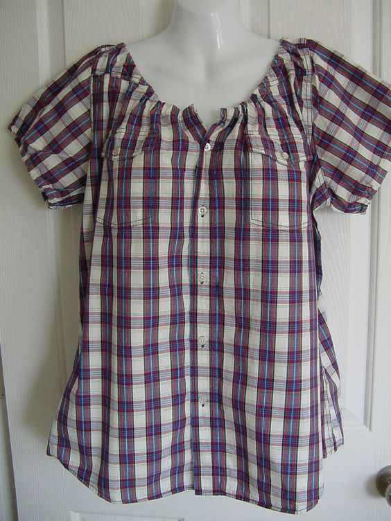 Peasant Blouse from a men's shirt, no tutorial, just a few pictures n etsy