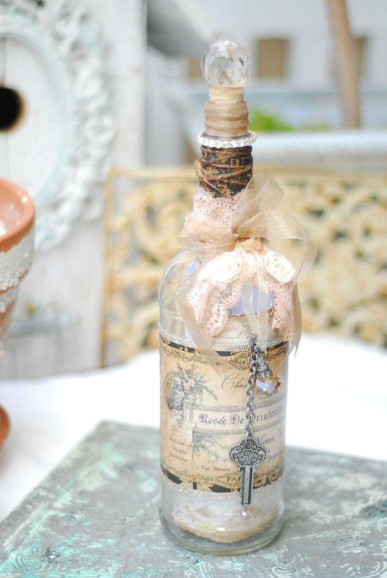 French Inspired Altered Vintage Bottle