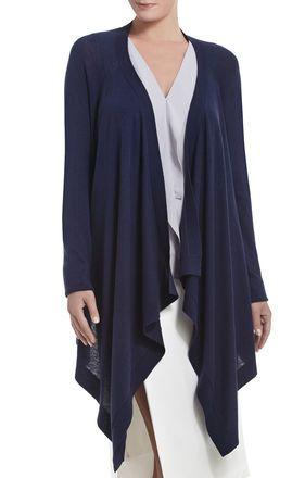 Jacklin Raglan-Sleeve Draped-Front Cardigan | BCBG