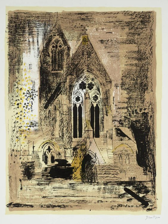 Mixed-Media Architecture  with Frottage - John Piper influenced - John Piper (1903 – 1992) is considered to be one of the most significant British artists of the 20th Century: