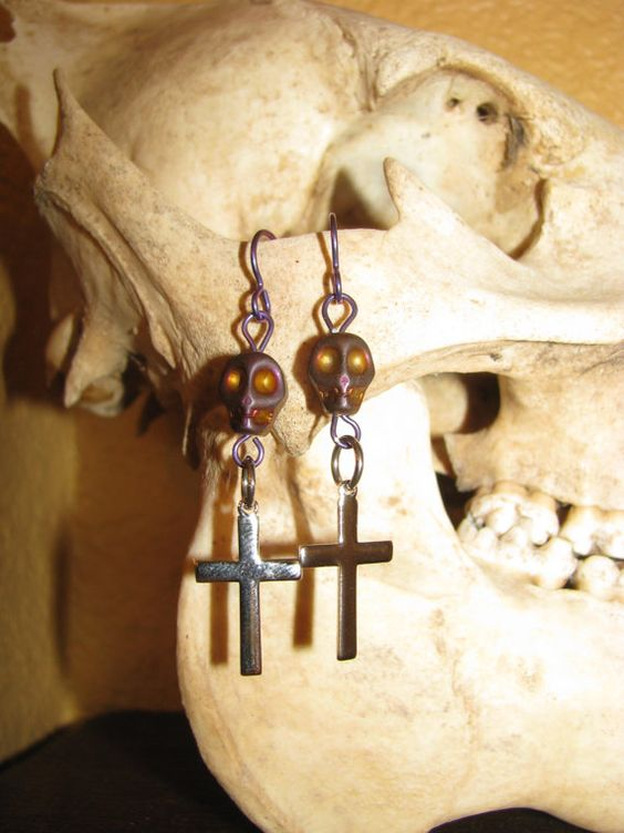 Skull and Cross Earrings by BeadToLive on Etsy, $12.00