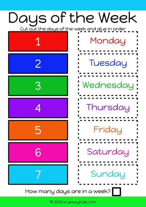 Learn and order the days of the week. Help children learn the week. Colored for easy matching. Ideal to use with preschool children. Free printable.