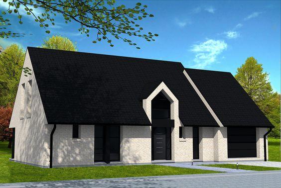 maison moderne en briques jaunes et toiture 2 pans en tuiles noires outeau en faade avant baie vitre en angle avec habillage alu en faade ar - Maison Moderne Avectoiture