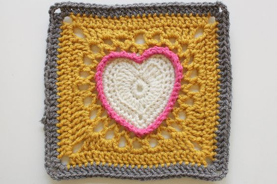 Pattern: Center Heart Square by Ginger Badger  from A Granny a Day