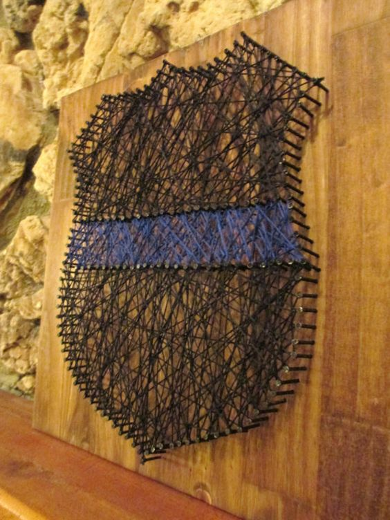 wall hanging string art thin blue line police officer badge wall decor art force office decoration