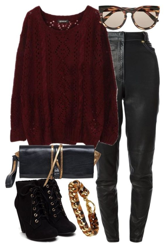 """""""Untitled #5682"""" by ashley-r0se-xo ❤ liked on Polyvore featuring Versace, Le Specs, Ann Demeulemeester and Ettika"""