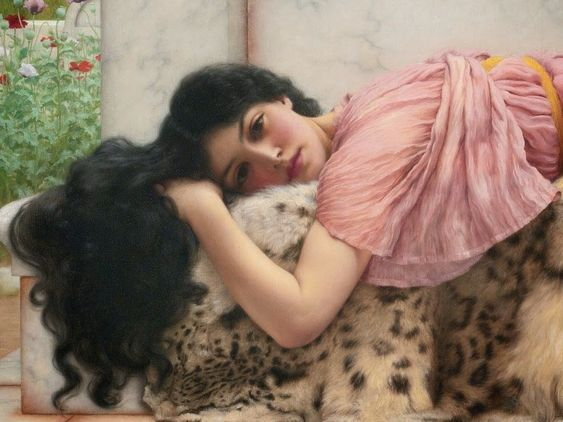 When the Heart is Young (detail), 1902, by John William Godward.   Oil on canvas, private collection: