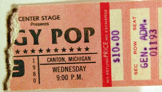 Iggy Pop ticket stub