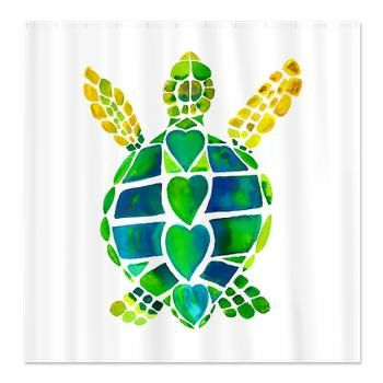 Sea Turtle Shower Curtain Turtle Love by ArtfullyFeathered