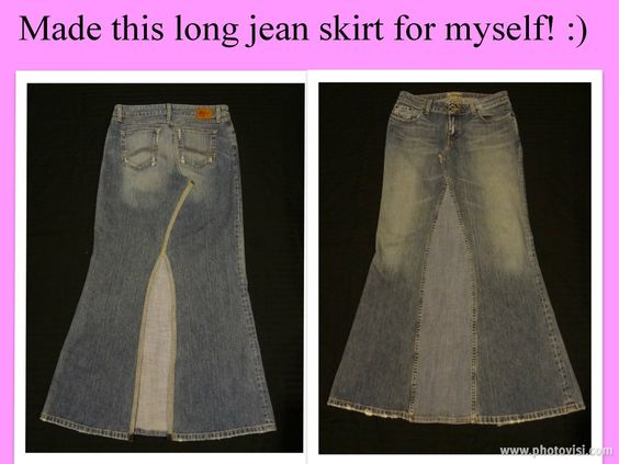 Long jean skirts for sale! $30 made from jeans, with a back slit ...